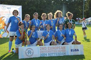 A equipa de rugby 7 feminino venceu a medalha de bronze nos EUSA Games 2014.