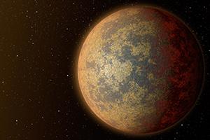 Imagem artística do exoplaneta HD219134 b. A sua densidade, semelhante à da Terra, indica uma composição de metal e rocha. Devido à sua proximidade da estrela, a temperatura do exoplaneta deve rondar os 700º C, e por isso a superfície deve estar parcialmente derretida (zonas mais escuras da imagem). Crédito: NASA/JPL-Caltech/R. Hurt