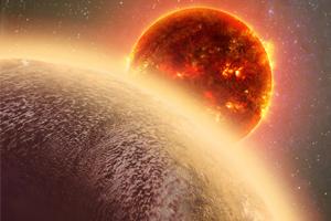 Imagem artística, com o planeta GJ 1132b no canto inferior esquerdo, e a estrela anã vermelha GJ 1132 ao centro. Na imagem é visível a potencial atmosfera deste planeta rochoso. (Crédito: Dana Berry/CfA)