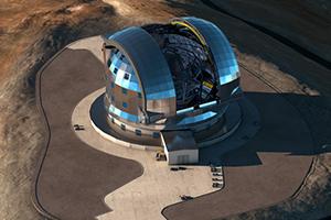 Imagem artística de uma vista aérea do E-ELT, no topo do Cerro Armazones (Chile). O telescópio já se encontra em construção e deve entrar em funcionamento em 2024. Crédito: ESO/L. Calçada