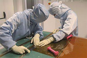 As proteções térmicas da ExoMars foram produzidas na sala limpa da empresa, localizada no UPTEC. (FOto: DR)