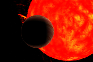 Representação artística, da estrela gigante vermelha Kepler-91 e do planeta Kepler-91b (retirada do vídeo Kepler-91b), quando este está a atravessar o disco da estrela. (Crédito: D. Cabezas).