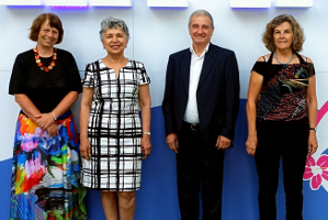 From left to right: Ewine van Dishoeck (the Netherlands, President-elect), Silvia Torres-Peimbert (Mexico, President), Piero Benvenuti (Italy, General Secretary) and Maria Teresa Lago (Portugal, General Secretary-elect).