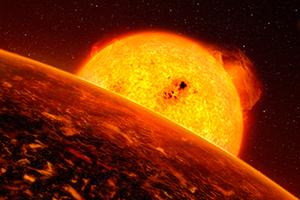 Imagem artística, com detalhe do exoplaneta Corot-7b. Este exoplaneta está tão próximo da sua estrela, que se encontra seguramente sujeito a condições extremas. O planeta cinco vezes a massa de Terra e é o exoplaneta que se conhece mais próximo da sua estrela. Crédito: ESO/L. Calçada