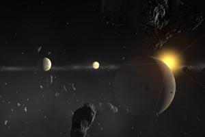 Impressão artística de um Sistema exoplanetário. Crédito: ESO.