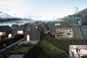 O concurso prevê a construção de um bairro residencial nas Ilhas Faroé, Dinamarca (c) DR.