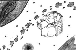 Um dos 88 desenhos das crianças portuguesas, sorteado para ir para o espaço com a missão CHEOPS. Crédito: Ana Amélia Patacho (12 anos)