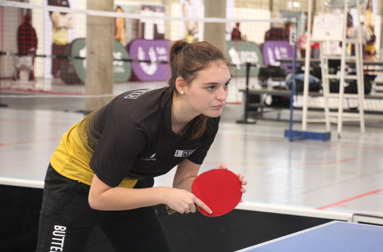 Estudante atleta da Universidade do Porto durante o Campeonato Nacional Universitário de Ténis de Mesa